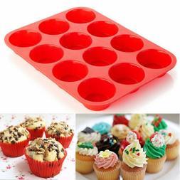 12 Cup Silicone Muffin Cupcake Baking Pan Non Stick Cupcake