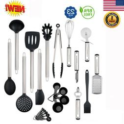 23Pcs Complete Stainless Steel Kitchen Utensil Set Non-Stick