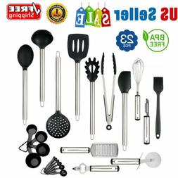 23PCS Stainless Steel Kitchen Cooking Utensil Set Nonstick C