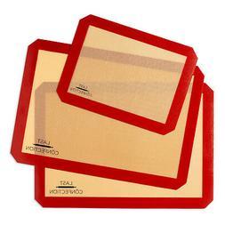 3 Non-Stick Silicone Baking Mats - 1x 1/4 Sheet, 2x 1/2 Shee