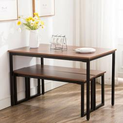 3 Piece Wooden Dining Table Set With Benches Chair Kitchen F
