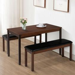 3PCS Dining Table Set w/ 2 Leather Benches Pine Wood Kitchen