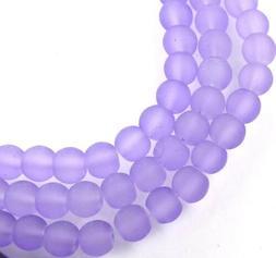 50 Czech Frosted Sea Glass Round / Rocaille Beads Matte - li