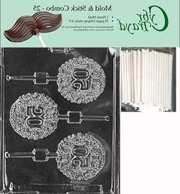 50th Fifty Lolly Chocolate Mold w/Cybrtrayd Instructions FRE