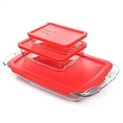 6-Piece Glass Bakeware Food Storage Set with Red Plastic Lid