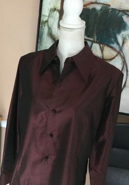 Carlisle A New Plum 100% Silk Taffeta Long Sleeve  Shirt / B