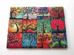 Ceramic Mosaic Tiles - 12 Piece Mixed Set - Funky Tree Desig
