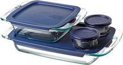 Pyrex Grab Glass Bakeware and Food Storage Set, 8-Piece, Cle