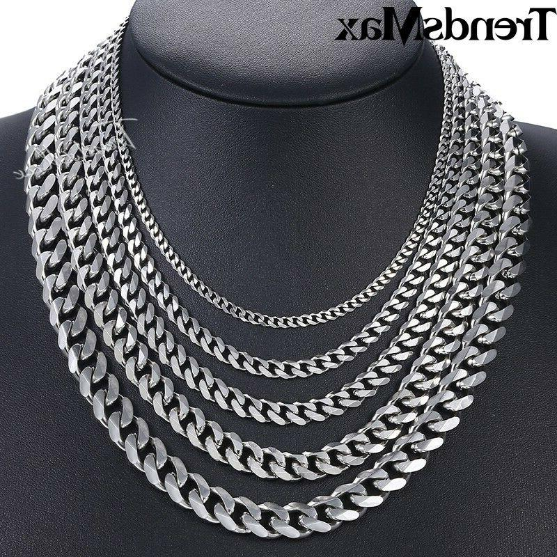 """18""""-36"""" Stainless Silver Tone Chain Mens Necklace"""