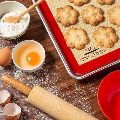 2 Non-Stick Silicone Baking Mats Tray Pan -