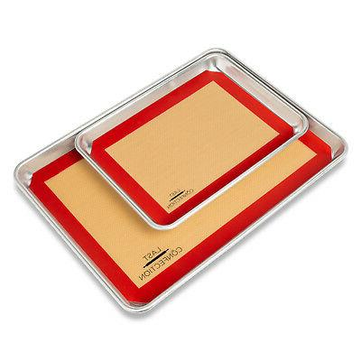 3 Non-Stick Silicone Mats 1x Sheet, 2x 1/2 Sheet Tray Pan