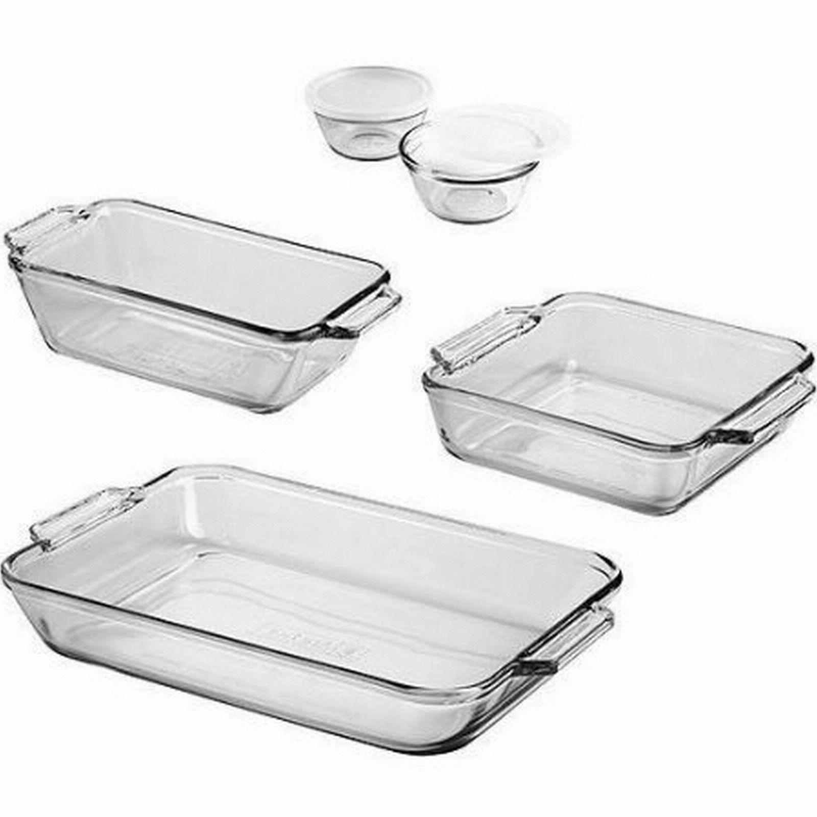Glass Pan Baking Set Bakeware Pans Cups 7-Piece Loaf Cake Cu