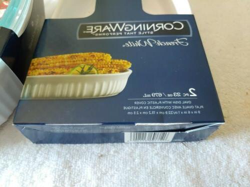 CORNING WARE PC. OVAL WHITE BAKEWARE CASSEROLE Brand