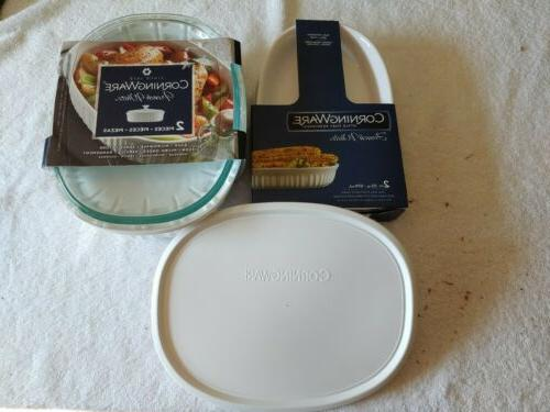 corning ware 5 pc oval french white