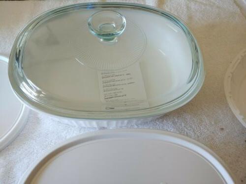 CORNING OVAL WHITE BAKEWARE CASSEROLE SET Brand