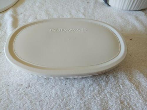 CORNING WARE 7 PC. OVAL WHITE CASSEROLE Brand