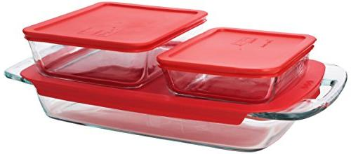 Pyrex Easy Value with Covers, Red