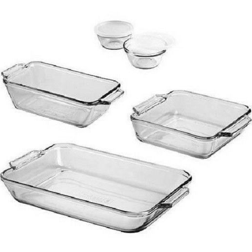 kitchen bakeware set 7 piece clear glass