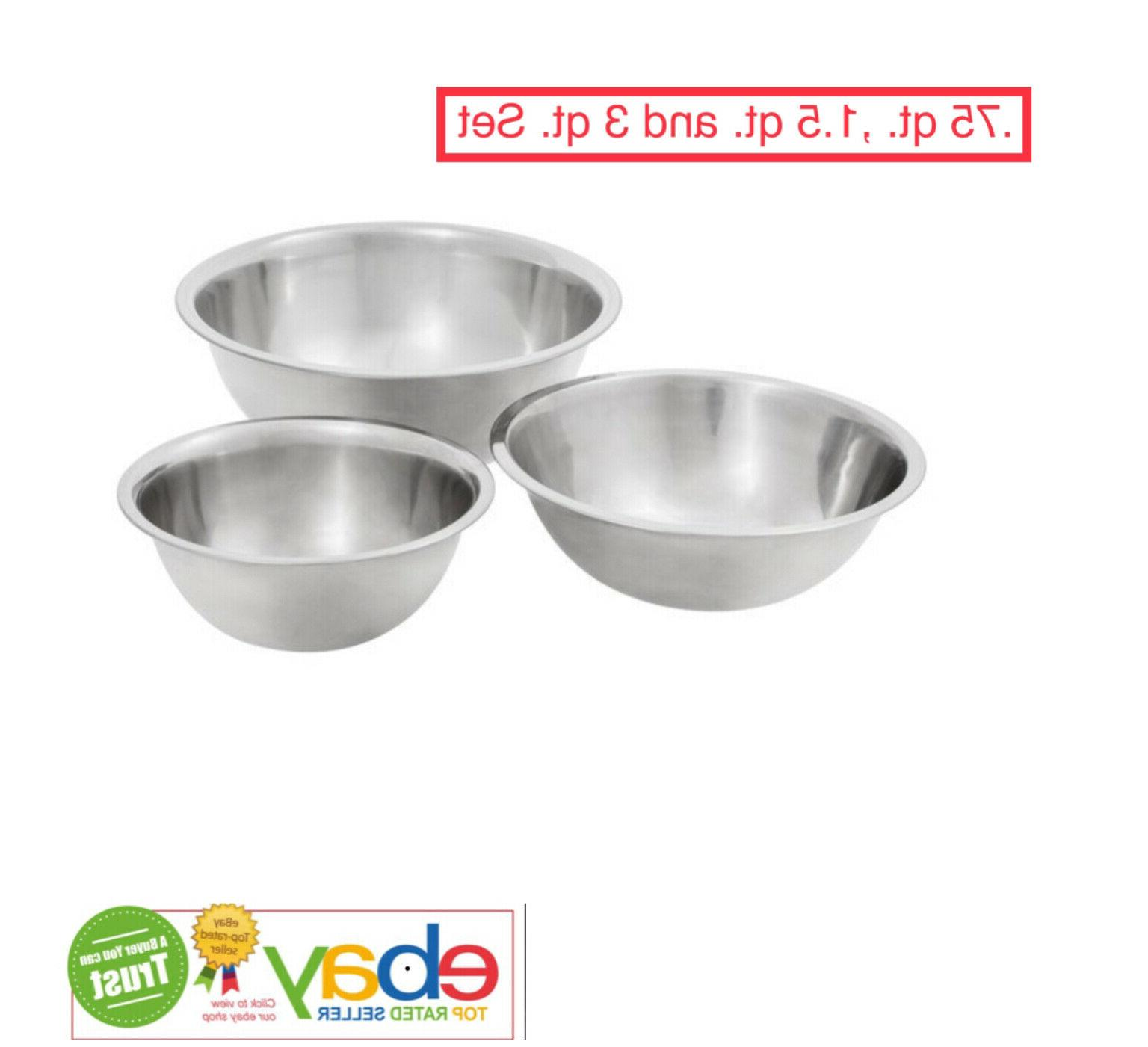 mixing bowls 3 piece set stainless steel