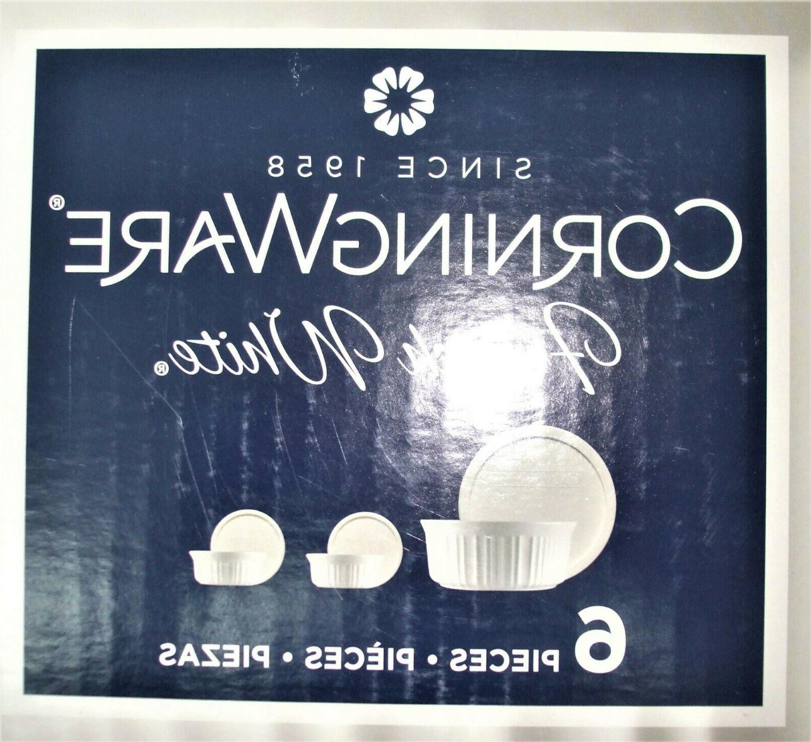 NEW CorningWare French White 6 PC. Bakeware With Lids