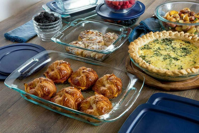 Pyrex Bakeware and Food Set, 8-Piece, Clear
