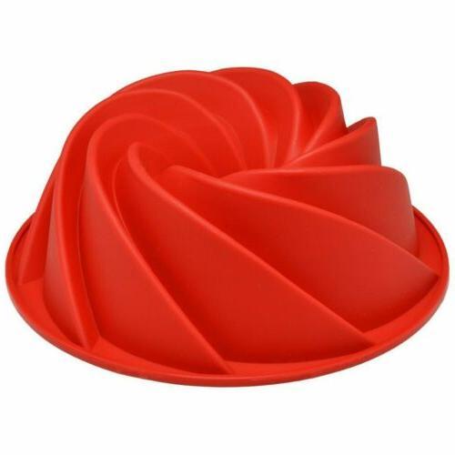 red large spiral shape bundt cake pan