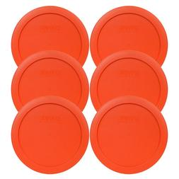 Pyrex 7201-PC 4 Cup Round Pumpkin Orange Lid Cover 6PK for G