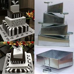 Topsy Turvy Set of 4 Square Cake Pans with Detachable Stand